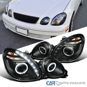 For 01 05 Lexus Gs300 Gs400 Gs430 Black Led Halo Projector Headlights Headlamps