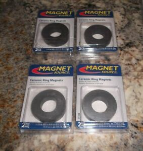 Magnet Source Ceramic Ring 1 75 Od 0 875 Id 25 Thick New 4 Packs Of 2 Each