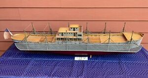 Antique 1915 Wwi Navy Torpedo Net Patent Model Wooden Ship Model Case
