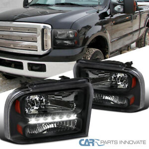 For Ford 05 07 F250 f350 f450 f550 05 Excursion Black Led Strip Headlights Lamps
