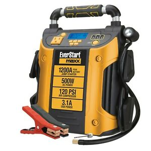 Auto Battery Jump Starter Air Compressor 1200 Peak Amps Portable Car Suv Charge