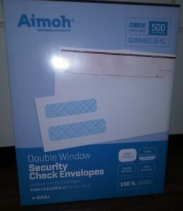 Aimoh Double Window Security Check Envelopes 3 5 8 X 8 11 16 Gummed Seal 500
