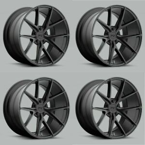 Set 4 18 Niche M117 Misano 18x8 Matte Black 5x110 Wheels 40mm Rims