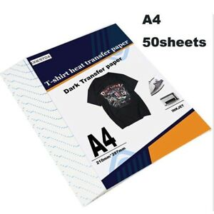 Heat Transfer Paper Iron On Dark Fabric T shirt Inkjet Grid 50 Sheets 8 5 x11