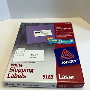 Avery Shipping Labels Smooth Feed Laser 2 X 4 White 80 Sheets Open Box 5163