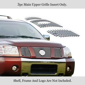 Fits 04 07 Nissan Armada 04 07 Titan Upper Stainless Chrome Grille Insert