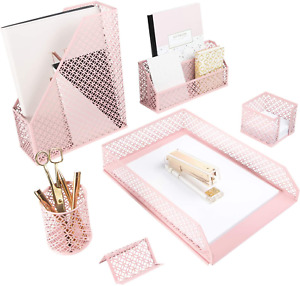 Blu Monaco Office Supplies Pink Desk Accessories For Women 6 Piece Desk Organize