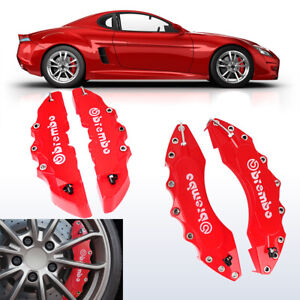 4 Front And Rear Universal Red 3d Brembo Style Disc Brake Caliper Covers