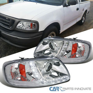 For Ford 97 03 F150 97 02 Expedition Clear Projector Headlights Lamps Led Strip