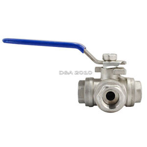 1 2 Npt Female 3 way T port 316 Stainless Steel Ball Valve Water Oil Gas Sus316