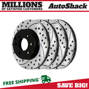 Front Rear Drilled Slotted Disc Brake Rotors Set Of 4 For Nissan Frontier 4 0l