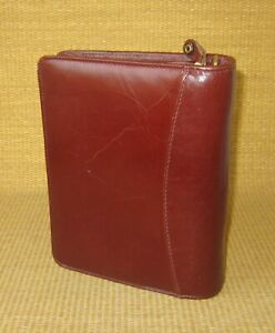 Compact Franklin Covey Burgundy Leather 1 5 Rings Zip Planner binder 115
