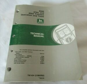 John Deere 8560 8760 8960 Tractor Shop Service Operation Tests Technical Manual