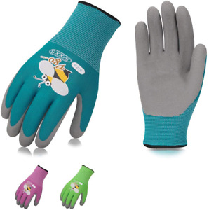 Vgo Foam Rubber Coated Gardening And Work Gloves For Kids 3 Pairs 3 Colors