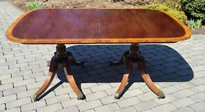 Antique 1930s Banded Mahogany Baker Furniture Double Pedestal Dining Room Table