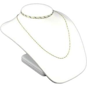 White Silver Faux Leather Bust Necklace Jewelry Display