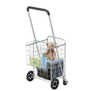 Folding Shopping Cart Utility Trolley Portable Swiveler Grocery Laundry Travel