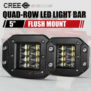 5 Combo Flush Mount Led Pods Off Road Backup Driving Lights For Jeep Bumper