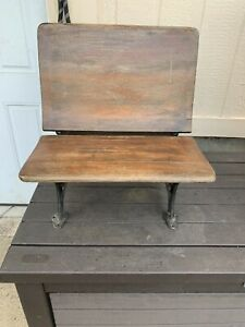 Antique Child S School Desk Wood Cast Iron With Folding Seat No 6 Oxford