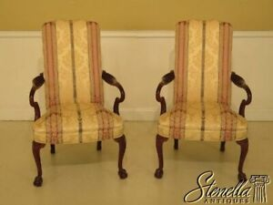 45752ec Pair Hickory Chair Co Upholstered Mahogany Library Chairs