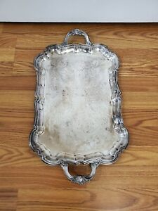 Vintage Silver Plated F B Rogers Footed Long Handled Serving Tray