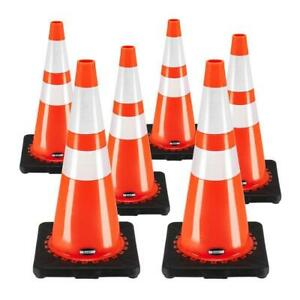 6 Pc Traffic Safety Parking Cones Warning Roads Construction Reflective Collars