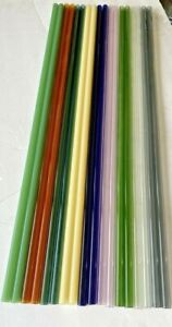 15 Glass Tubes 12mm X 2mm X 24 Blowing Pyrex Boroscilicate 8 Id Color