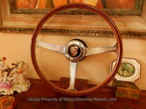 Steering Wheel For Porsche 356 Bc Wood Nardi Horn Button 41 Cm Nos Vintage New
