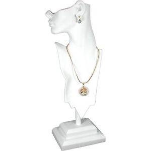 White Mannequin Necklace Bust Jewelry Display 19 1 2 New
