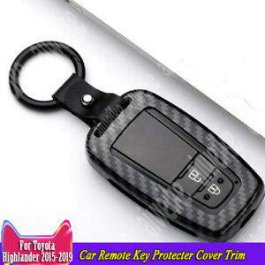 Carbon Fiber Car Remote Key Protecter Cover Trim For Toyota Highlander 2015 2019