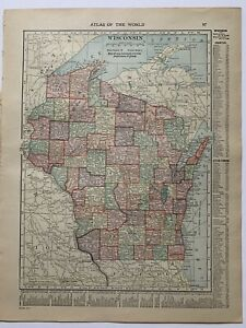 Beautiful Colored Map Of Wisconsin 1910 Atlas Of The World