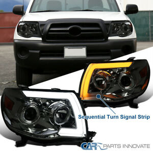 For 05 11 Toyota Tacoma Switchback Sequential Led Bar Smoke Projector Headlights