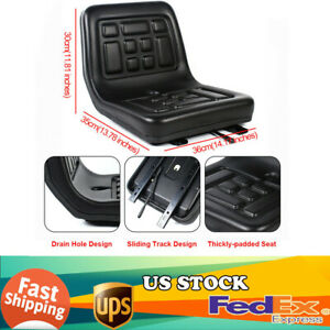 Slidable Black Tractor Seat With 1 Drain Hole Water resistant Thick Pu Leather