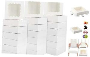 30pcs 8x8x2 5 Inches White Bakery Boxes Cake Boxes Pastry Boxes With Window