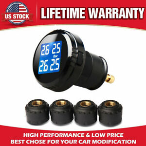 Tpms Tire Pressure Monitoring System Wireless Cigarette Lighter 4 Sensors A7c3