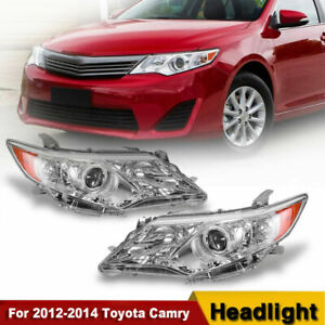 For 2012 2014 Toyota Camry Clear Projector Headlights Head Lamps Left right Pair