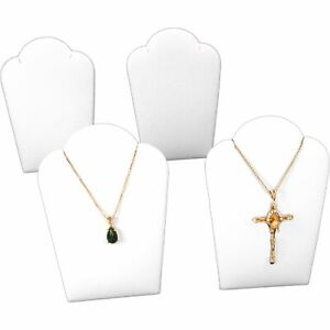 4 White Faux Leather Necklace Pendant Jewelry Display