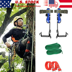 Tree Climbing Spike Set 2 Gears Safety Belt Adjustable Lanyard Rope Rescue Ep