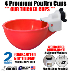4 Chicken Watering Cups Fully Automatic No Peck No Leak No Training Birds