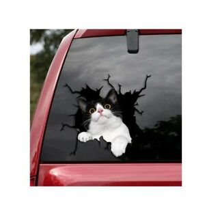 Tuxedo Cat Crack Car Sticker Cat Lover