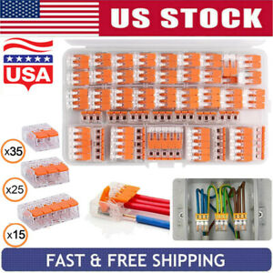 75xfor Wago 221 Electrical Connectors Wire Block Clamp Terminal Cable 2 3 5 Ways