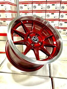 15x8 4 100 20 Candy Red Civic Fits Acura Integra Civic 15x8 5 Set 4