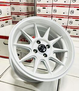 15x8 4 100 20 Pearl White Wheels Fits Acura Integra Civic 15x8 25 Set 4