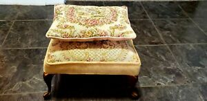 Vintage Victorian Foot Stool With Pillow On Brass Legs Flower Pattern Fabric