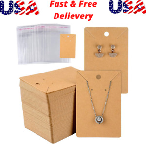150 Set Earring Card With 150 Pcs Bags Card Holder Blank Kraft Paper Tags For