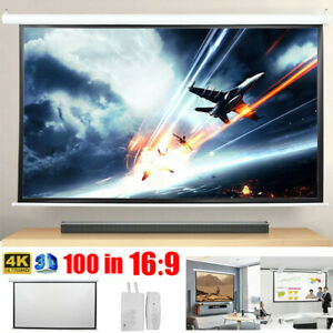 Electric Motorized Projector Screen 100 Inch 16 9 3d Hd Home Cinema Remote Us
