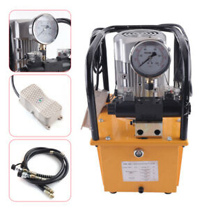 750w 10000 Psi Electric Hydraulic Pump Double Acting Solenoid Valve Pedal Switch