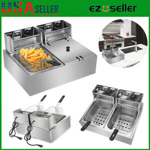 5000w 12 7qt Double Cylinder Electric Fryer Tank Commercial Restaurant Us Plug