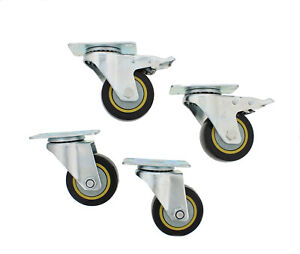 Abn Swivel Plate Caster Wheels 3 Inches Set Of 4 Locking Casters For Furniture