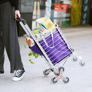 4 Wheel Shopping Cart Portable Folding Utility Storage Basket Cart Trolley Daily